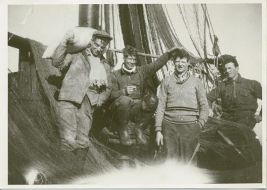 Knut and three of his brothers working on the Vandringen before the German occupation of Norway.  (Photo belongs to Knut and Haldis Einarsen)