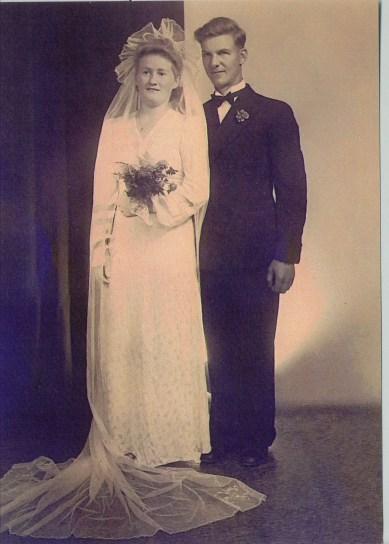 Knut and Haldis on their wedding day August 16, 1941.  (Photo belongs to Knut and Haldis Einarsen)