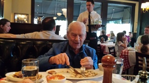 Knut eating at Maggiano's May 1, 2015